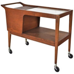 MCM Arthur Umanoff for Cavalier Dimension Group Rolling Server Bar Cart Walnut