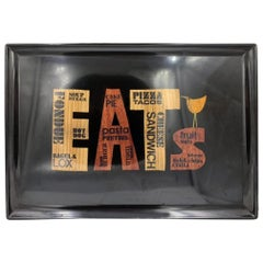 """MCM Barware Couroc Resin Tray Titled """"Eats"""""""