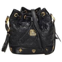 MCM Black Leather Drawstring Bucket Bag