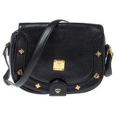 MCM Black Leather Flap Crossbody Bag