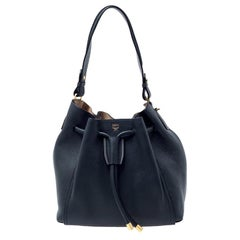 MCM Black Leather Milla Drawstring Shoulder Bag