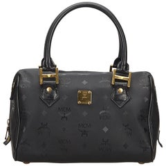 MCM Black Mini Visetos Boston Bag