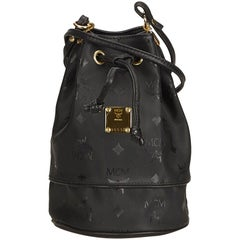 MCM Black Nylon Visetos Bucket Bag