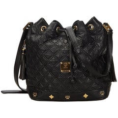 MCM Black Quilted Leather Bucket Bag
