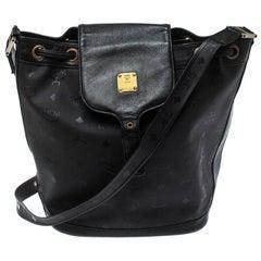 MCM Black Signature Nylon and Leather Drawstring Flap Bucket Bag