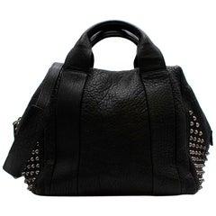 MCM Black Textured Leather Studded Top Handle Bag