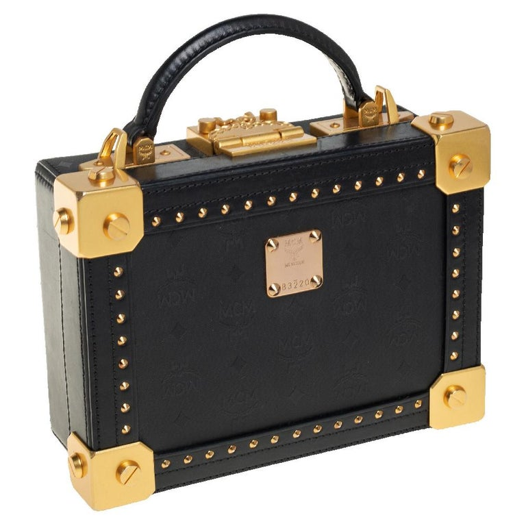 Women's MCM Black Visetos Coated Canvas and Leather Berlin Box Bag