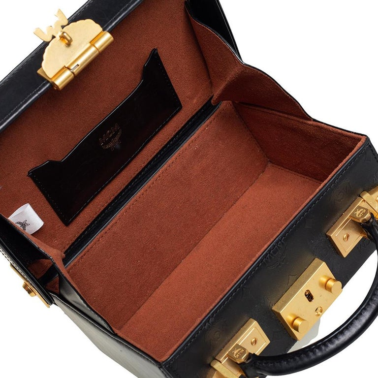 MCM Black Visetos Coated Canvas and Leather Berlin Box Bag 2