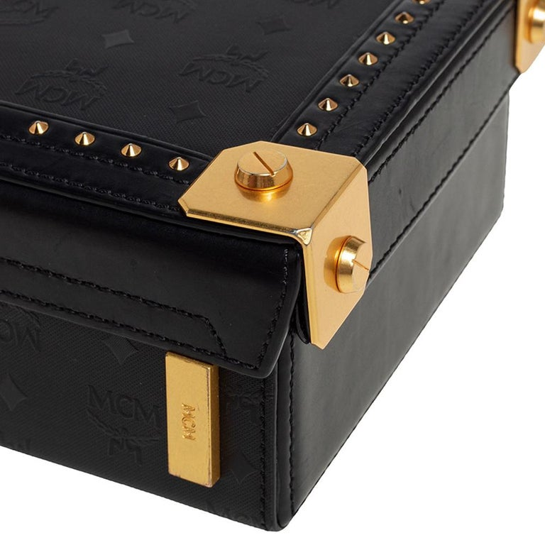MCM Black Visetos Coated Canvas and Leather Berlin Box Bag 3