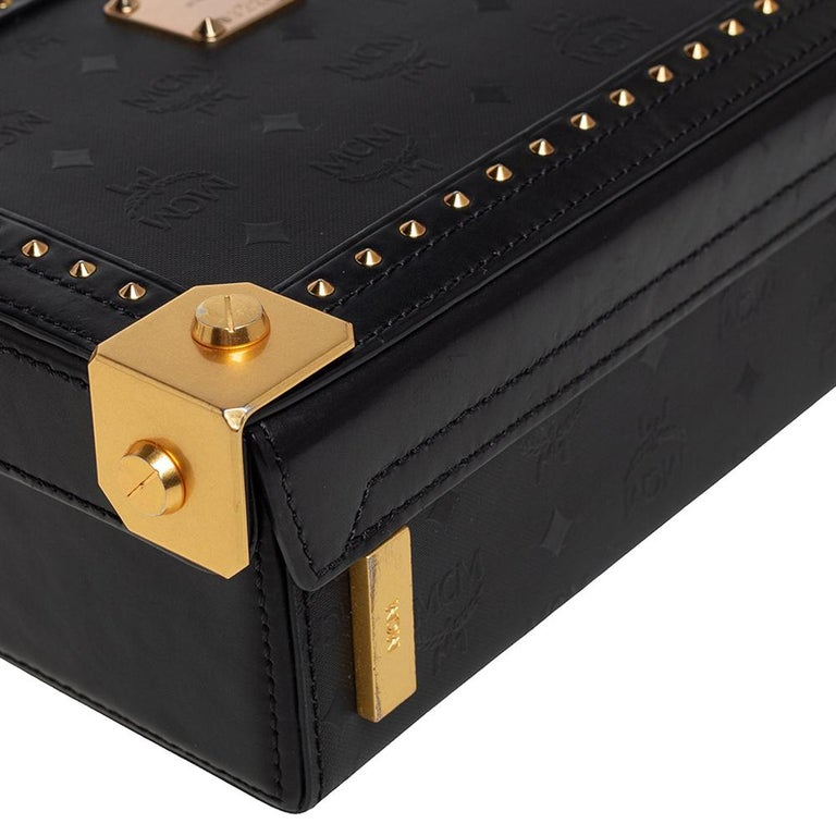 MCM Black Visetos Coated Canvas and Leather Berlin Box Bag 4