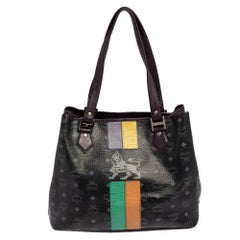 MCM Black Visetos Coated Canvas and Leather Medium Princess Lion Shopper Tote