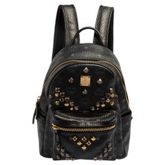 MCM Black Visetos Coated Canvas and Leather Small Studs Stark Backpack
