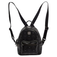MCM Black Visetos Coated Canvas Mini Stark Backpack