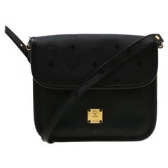 MCM Black Visetos Nylon and Leather Crossbody Bag