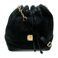 MCM Black Visetos Nylon Drawstring Bucket Bag
