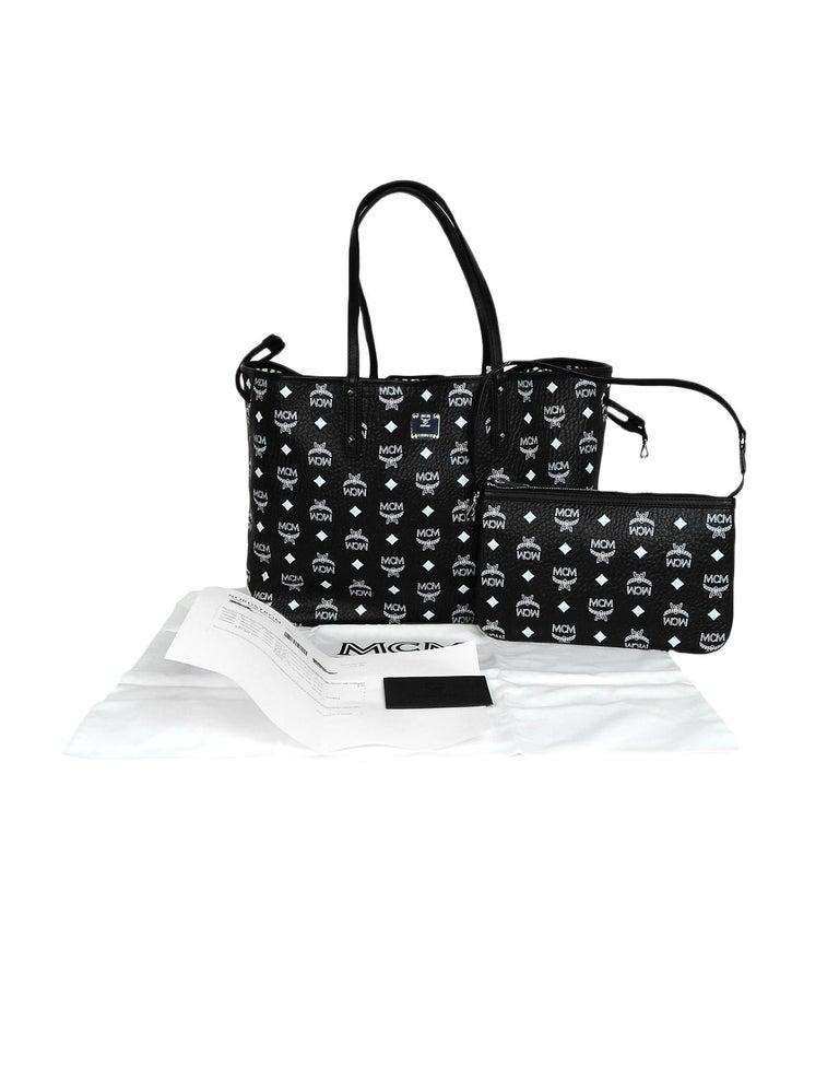 714c0e3f0953 MCM Black White Monogram Visetos Medium Liz Reversible Shopper Tote Bag For  Sale 7