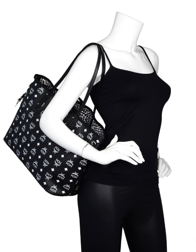 17444377da04 MCM NEW Black White Gingham Monogram Visetos Canvas Medium Liz Reversible  Shopper Tote Bag