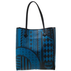 MCM Blue/Black Visetos Baroque Print Kira North South Tote