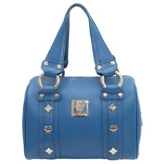 MCM Blue Small Leather Boston Handbag