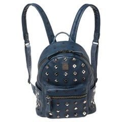 MCM Blue Visetos Coated Canvas and Leather Small Studs Stark Backpack
