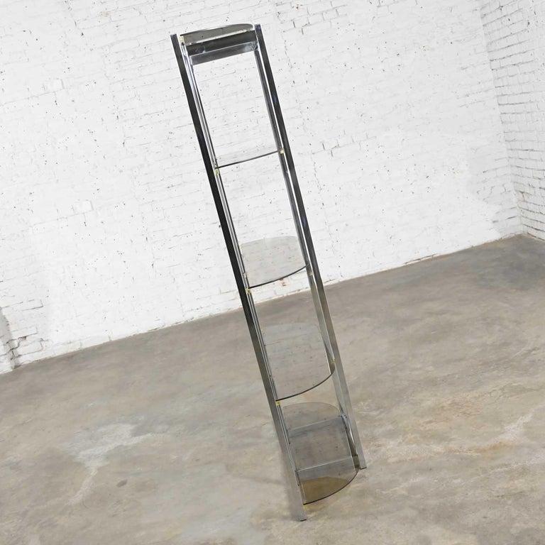 MCM Bow Shape Chrome Étagère 5 Smoked Glass Shelves Style of James David or DIA For Sale 6