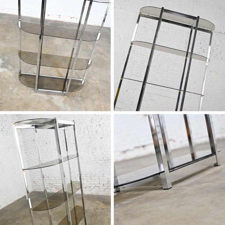 MCM Bow Shape Chrome Étagère 5 Smoked Glass Shelves Style of James David or DIA For Sale 7