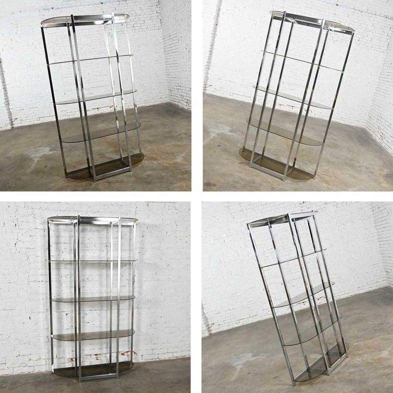 MCM Bow Shape Chrome Étagère 5 Smoked Glass Shelves Style of James David or DIA For Sale 8