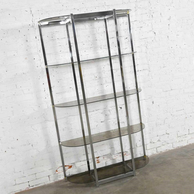 Mid-Century Modern MCM Bow Shape Chrome Étagère 5 Smoked Glass Shelves Style of James David or DIA For Sale