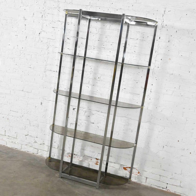 MCM Bow Shape Chrome Étagère 5 Smoked Glass Shelves Style of James David or DIA In Good Condition For Sale In Topeka, KS