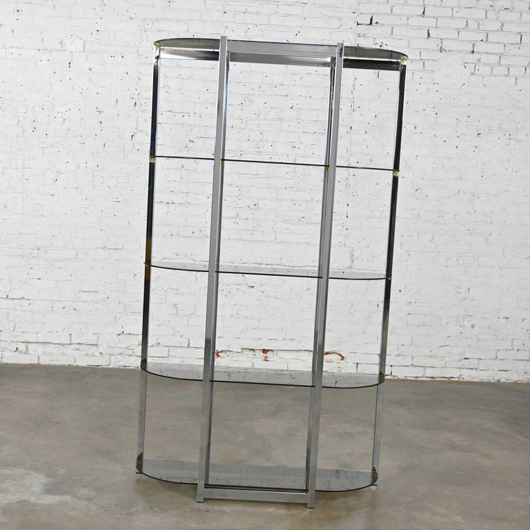20th Century MCM Bow Shape Chrome Étagère 5 Smoked Glass Shelves Style of James David or DIA For Sale