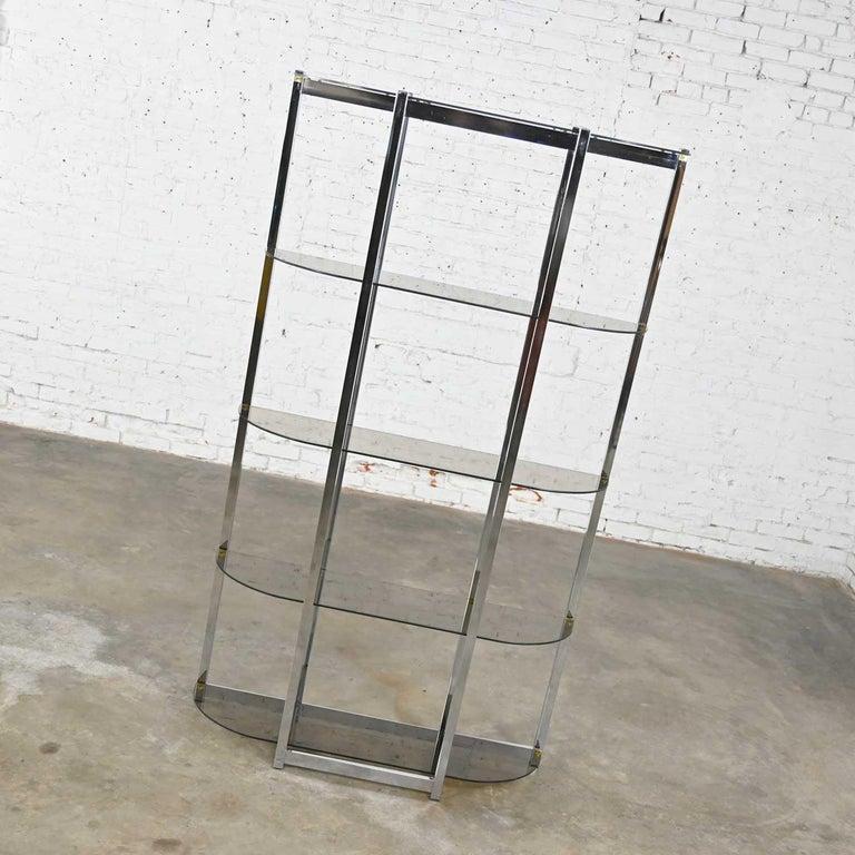 MCM Bow Shape Chrome Étagère 5 Smoked Glass Shelves Style of James David or DIA For Sale 1