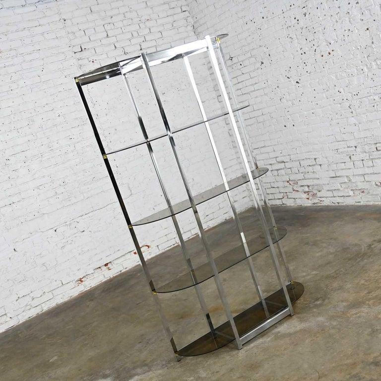 MCM Bow Shape Chrome Étagère 5 Smoked Glass Shelves Style of James David or DIA For Sale 2