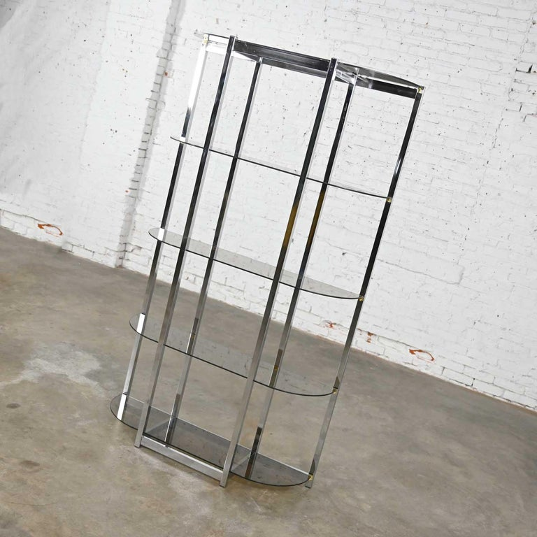 MCM Bow Shape Chrome Étagère 5 Smoked Glass Shelves Style of James David or DIA For Sale 3
