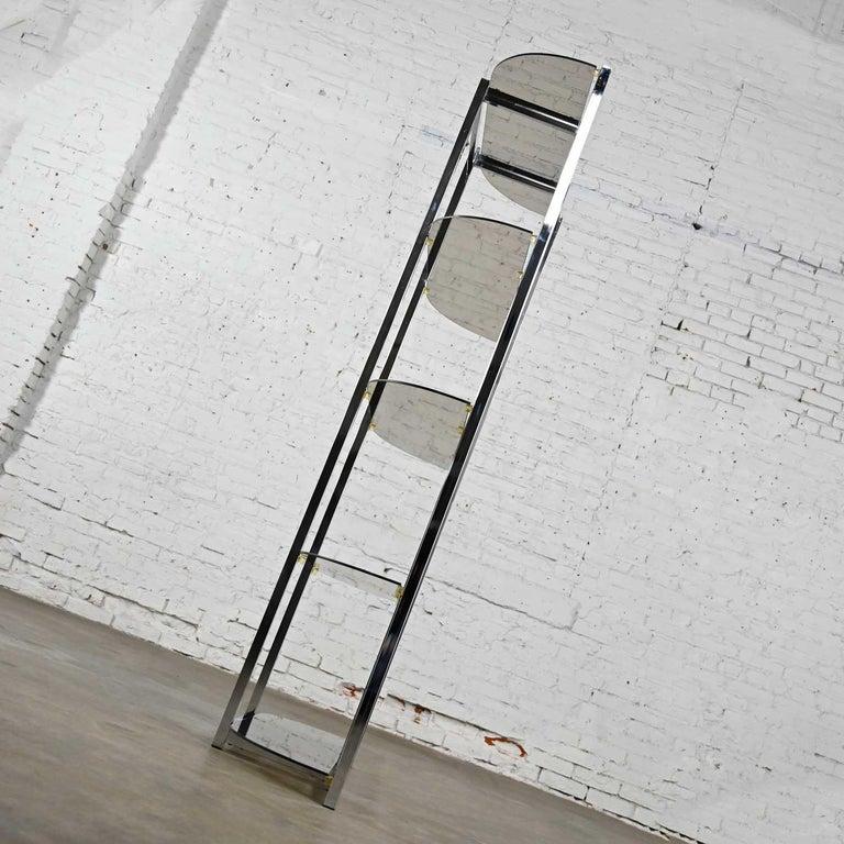 MCM Bow Shape Chrome Étagère 5 Smoked Glass Shelves Style of James David or DIA For Sale 4