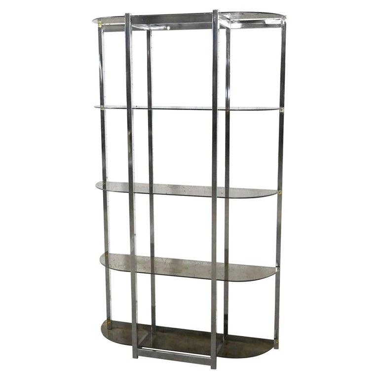 MCM Bow Shape Chrome Étagère 5 Smoked Glass Shelves Style of James David or DIA For Sale