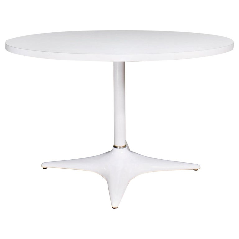MCM Brody Chicago Round Pedestal Dining Table Enameled Star Base & Laminate Top For Sale