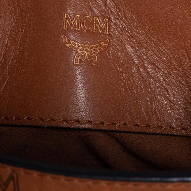 MCM Brown Visetos Coated Canvas and Leather Mini Heritage Top Handle Bag For Sale 6