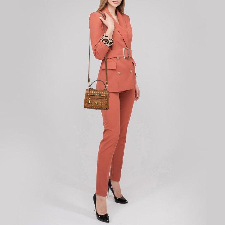 MCM Brown Visetos Coated Canvas and Leather Mini Heritage Top Handle Bag In Fair Condition For Sale In Dubai, Al Qouz 2