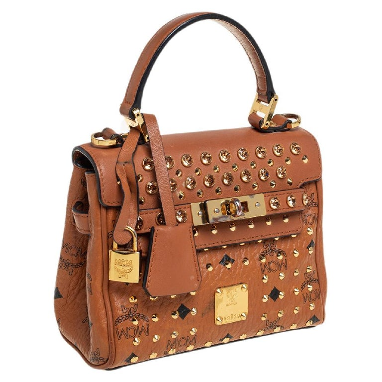 Women's MCM Brown Visetos Coated Canvas and Leather Mini Heritage Top Handle Bag For Sale