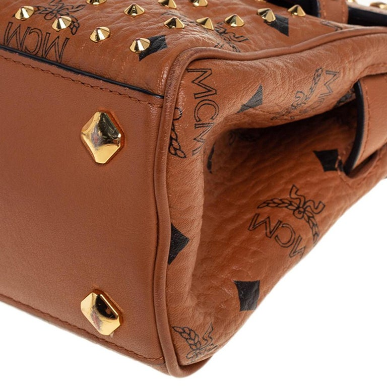 MCM Brown Visetos Coated Canvas and Leather Mini Heritage Top Handle Bag For Sale 5