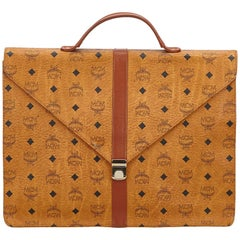 MCM Brown Visetos Leather Briefcase