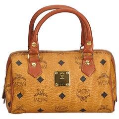 MCM Brown Visetos Leather Mini Boston Bag