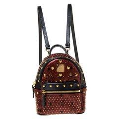 MCM Burgundy/Black Leather X Mini Studded Strak-Bebe Boo Backpack