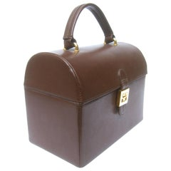 MCM Chic Brown Leather Handmade Trunk Purse c 1990s