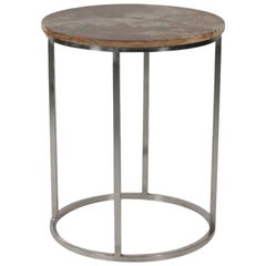MCM Chrome and Marble Round Accent Table