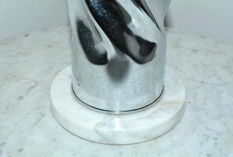 MCM Chrome Lamp with Marble Base In Good Condition For Sale In Great Barrington, MA