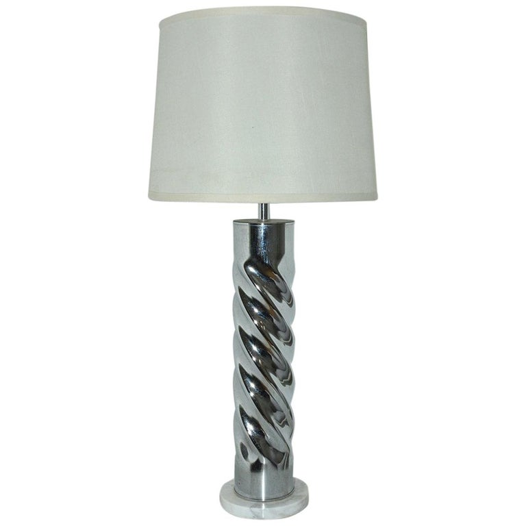 MCM Chrome Lamp with Marble Base For Sale