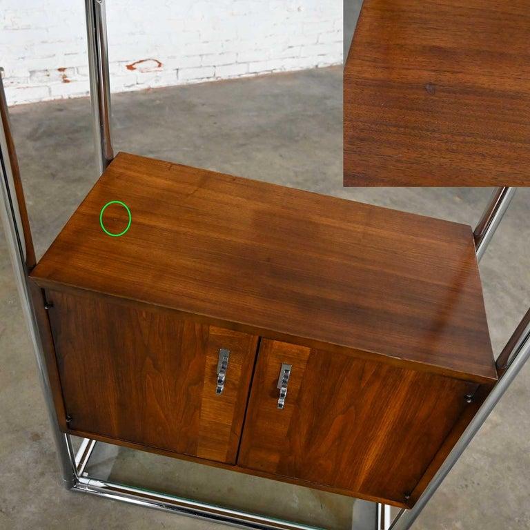 MCM Chrome & Walnut Veneer Display Cabinet or Room Divider 3 Piece Unit by Lane For Sale 3