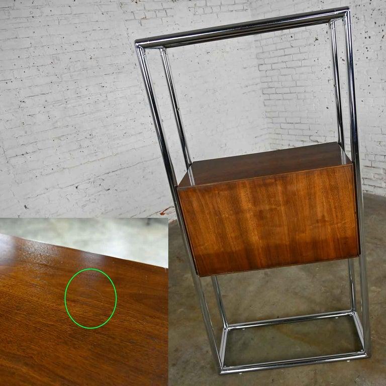 MCM Chrome & Walnut Veneer Display Cabinet or Room Divider 3 Piece Unit by Lane For Sale 4