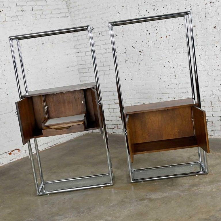 MCM Chrome & Walnut Veneer Display Cabinet or Room Divider 3 Piece Unit by Lane For Sale 5